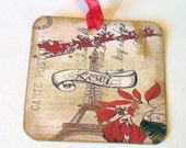French Xmas Tags - Set of 4 - Vintage Look - Paris Holiday Tags - Joyous Noel - Caroler Tags - Eiffel Tower Tags - Father Christmas