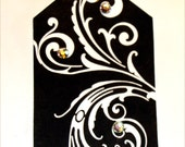 CO-470-Black Tags With White Swirls and Some Sparkly Bits Too Set of 6