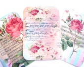 Flowers And Music Tags for Gifting Vintage Inspired Set of 6 Different Images