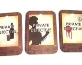 Mystery Gift Tags Set of 8 Hard Boiled Film Noir PIs And Dames Vintage Inspired Detectives 1930s