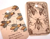 Primitive Bee Tags - Set of 8 - Vintage Bee Tags - Bee Gift Tags - Honeybee Tags - Thank Yous - Merchandise Tags - Garden Tags
