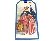 Christmas In July Sale 20% Off  Vintage Inspired Tags For The Fourth Of July With Children Flags Uncle Sam Fireworks Eagle Set of 6