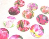 Watercolor Tulip Stickers set of 30 in Pinks And Purples