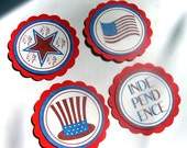 Patriotic Embellishments In Red White And Blue On Red For Tags CArds Scrapbooking