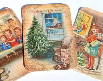 Christmas Windows - Gift Tags - Set of 6 - Christmas Scenes - Holiday Homes - Vintage Christmas - Xmas Tags - Thank Yous - Xmas Decor Tag