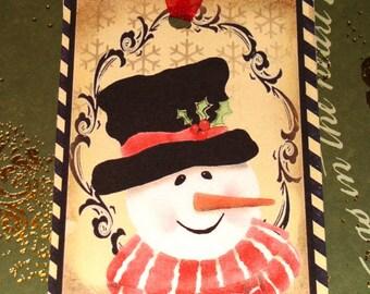 Snowman Tags - Set of 6 - Vintage Snowmen - Christmas Tags - Vintage Christmas - Holiday Tags - Variety  Tags - Xmas Snowmen - Thank Yous