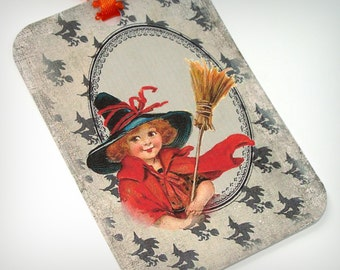 Witch Girl Tags - Halloween Tags -  Set of 6 - Vintage Look - Cute Little Witches - Holiday Tags - Thank Yous - All Hallows Eve -