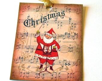 Pink  Santa Tags -  Set of 6 - Tiny Retro Santas - Gift Tags - Christmas Tags - Holiday Tags - Pink Xmas Tags - Retro Pink Santas - - 1950's