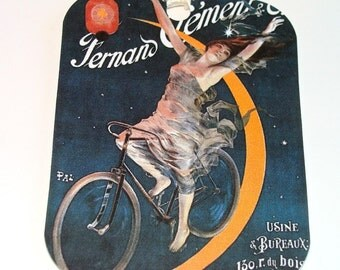 Bicycle Tags - Set Of 4 - Vintage Look - French Bicycle - French Ad Tags - Gift Tags - Thank Yous - Cycling Woman -  Vintage Bicycle Ad