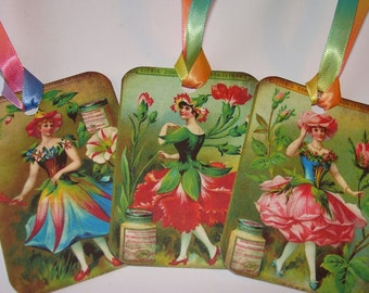 Green Fairy Tags -  Set of 6 - Vintage Look Tags - Garden Fairy - Nature Tags - Flower Fairy - Victorian Fairy -Thank Yous - Fantasy  Tags