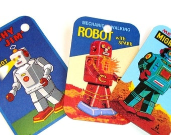 Robot  Tags -  Set of 8 - Retro Robots  - Mid Century Robots - Sci Fi Tags - Gift Tags - Thank Yous - Atomic Age Robots - Futuristic Tags