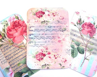 Flowery Music Tags - Set of 6 - Vintage Look - Gift Tags - Flower Tags - Sheet Music Tags - Thank Yous - Garden Tags - Cottage Chic Tags