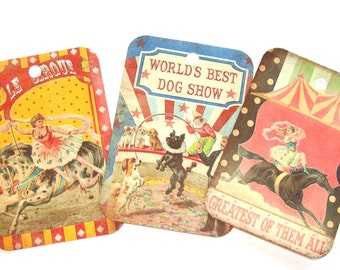 Circus Tags - Set of 6 - Vintage Look - Circus Animals - Circus Acts - Thank Yous - Merchandise Tags - Circus Tent Tags - Nostalgic Circus