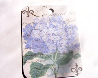 Hydrangea Tags  - Purple Hydrangea - Set of 4  - Gift Tags - Flower Tags - Garden Tags - Nature Tags - Purple Flower - Thank Yous -