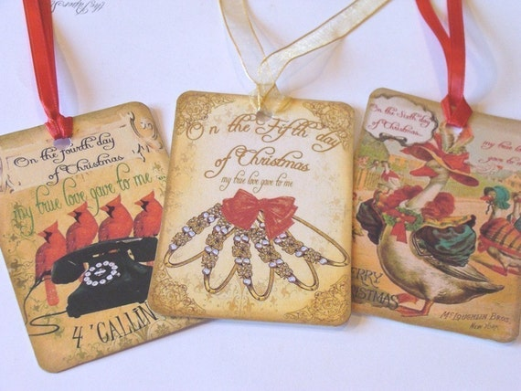 CO-138-Gift Tags Twelve Days of Christmas Vintage Style Set of 12