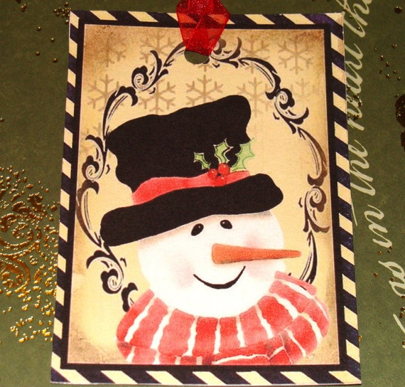 Snowman Tags - Set of 6 - Vintage Snowmen - Christmas Tags - Vintage Christmas - Holiday Tags - Variety  Tags - Xmas Snowmen - Thank Yous