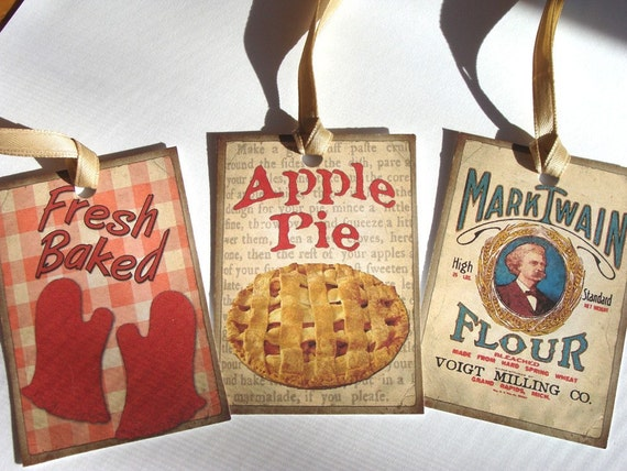 Retro Kitchen Tags -  Set of 8 - Vintage Kitchen - Cooking Tags - Mid Century Tags - Red Kitchen Tags - Gift Tags - Thank Yous