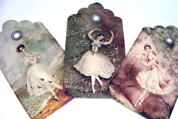 Ballerina Tags - Variety Set 6 - Classical Dance - Vintage Ballerinas - Gift Tags - Cottage Chic Tags - Dance Tags - Women Dancers