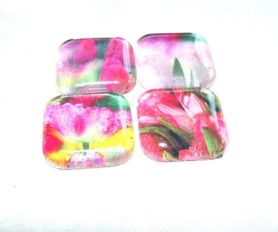 Spring Tulip Magnets Watercolor Set Of 4