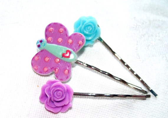 Butterfly  Hair Pins Set of 4 Flowers Blue And Lavender