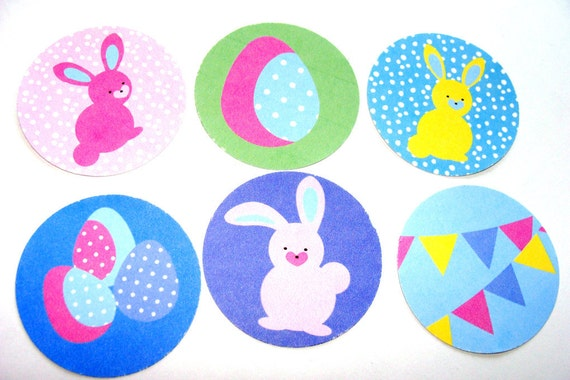 Christmas In July 20% Off Soft Pastel Spring Or Easter Stickers Set of 20 Bunnies Eggs And More