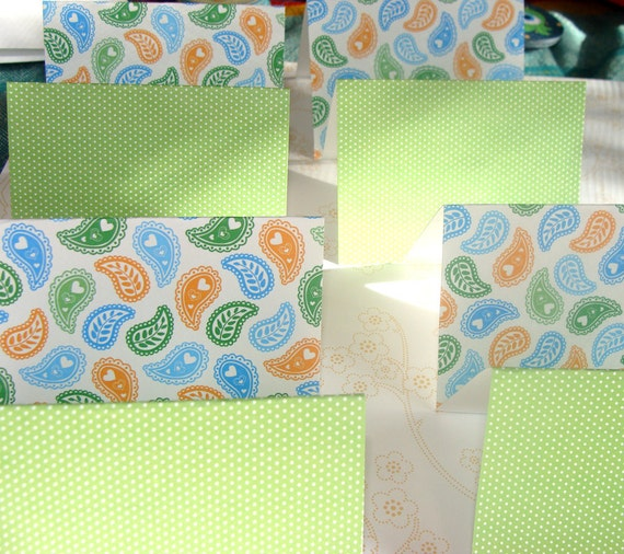 Lime Orange And Blue Paisley With Lime Polka Dot Blank Cards Set of 8 3.5 X2.5
