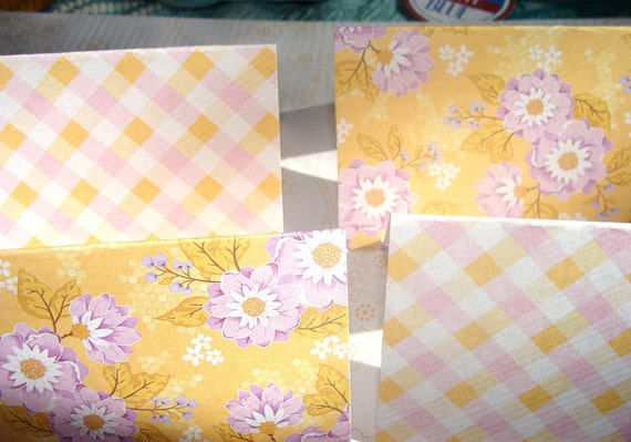 Yellow And Lavender Plaid And Flowers Blank Cards Set of 8 3.5 X2.5