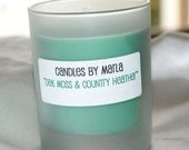 HERBAL SOY CANDLES - OAK MOSS and COUNTRY HEATHER (Mint Green) - 6 oz Frosted Round Glass Jar