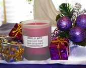 CLEARANCE - SPICED SUGAR PLUMS - all natural soy wax candle in 6oz round frosted jar (Holiday Scent)