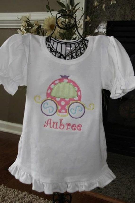 Custom Monogrammed Personalized Princess Carriage Disney vacation ruffle shirt