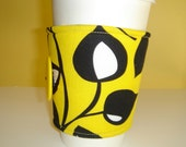 Coffee Cup Cozy Fabric Bright Yellow With Black Leaves