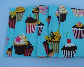 Fabric Coasters  Cupcake Turquoise Blue, Set of Six
