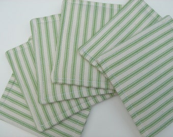 Fabric Coasters Decorative Green and White Ticking Stripe Reversible Six