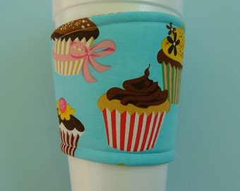 Coffee Cup Cozy Fabric Cupcakes Turquoise Blue
