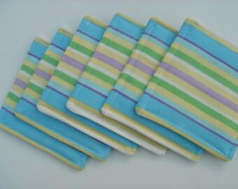 Fabric Coasters Blue, Lavender Green Stripe, Set of six