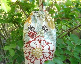 Plastic Grocery Bag Holder,  Tangerine blue  Green Modern Flowers