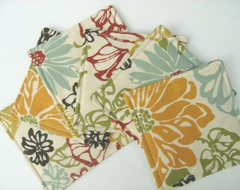 Fabric Coasters Tangerine, Blue, Green Modern Floral, Reversible,  Set of Six