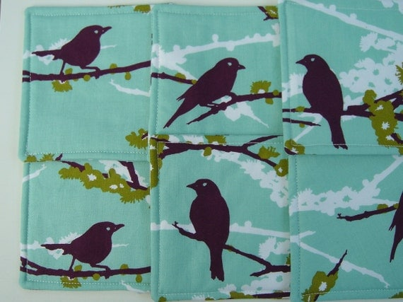 Fabric Coasters Sage Green with Sparrow Birds Reversible