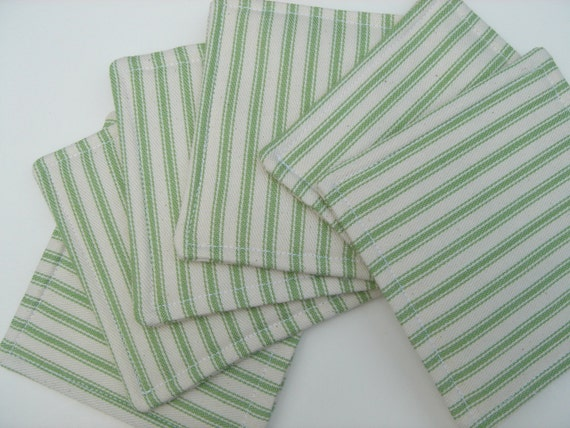 Fabric Coasters Green White Ticking Stripe Reversible Six