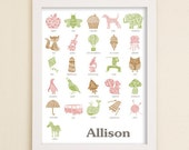Personalized  Alphabet Poster -  Alphabet Art - Children's Modern Typographic Art - Love Letters Series