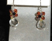 Clear crystal quartz briolette and multi color bunch earrings w/ sterling silver