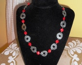 Red Coral and Tibetan Silver link necklace