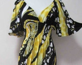 YELLOW BLACK BOLD PRINTED BRIGHT MAXI COLOURED PARTY CHURCH WEDDING DRESS us 6 8 10 12 ----  FAST SHIPPING