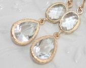 Bridal Crystal Clear Teardrop Earrings, Matte Gold faceted bezel set Double Drop Earrings, Wedding Bridesmaids Gifts ,Aprils Birthstone