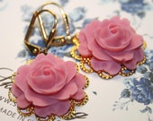 Pink Rose Earrings, Pastel Pink Earrings, Vintage Flower earrings, Summer Wedding earrings, Gold filigree -For Mother Sister Bridesmaid