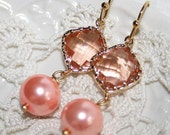 Peach Pearl and square Gold Earrings, Pink Champagne Peach Pearl Earrings,Faceted Gold framed-Bridal Wedding jewelry