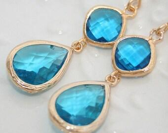 Capri Blue earrings,Blue Bridal earring,Blue crystal earring,Bright Blue glass,Blue Teardrop Earrings,Something Blue, Wedding Jewelry