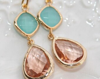 Peach Mint Earrings Summer Wedding Pink Champagne Mint Bridal Earrings Peach Teardrop Jewelry Wedding Bridesmaids Favors Peach Earrings
