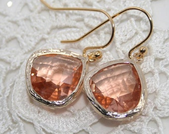 Peach Drop Earrings,Pink Champagne Wedding Earrings, Peach Pink crystal Glass drops and gold bezel set dangle earrings , Everyday, Gorgeous