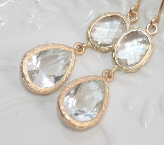 Bridal Crystal Clear Teardrop Earrings, Matte Gold faceted bezel set Double Drop Earrings, Wedding Bridesmaids Gifts ,Aprils Birthstone